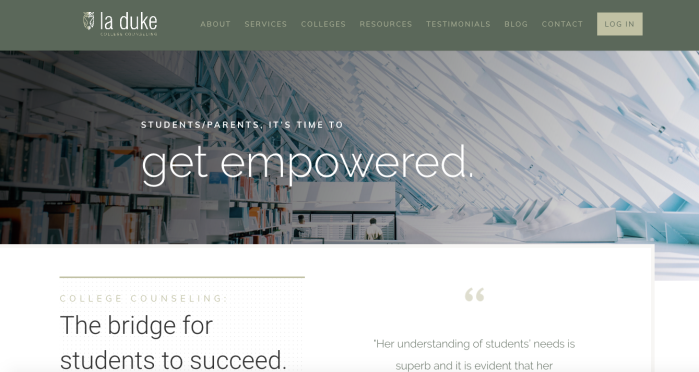 La Duke College Counseling homepage