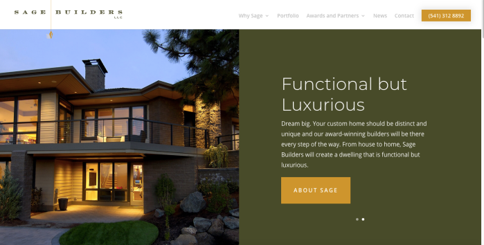 Sage Builders homepage